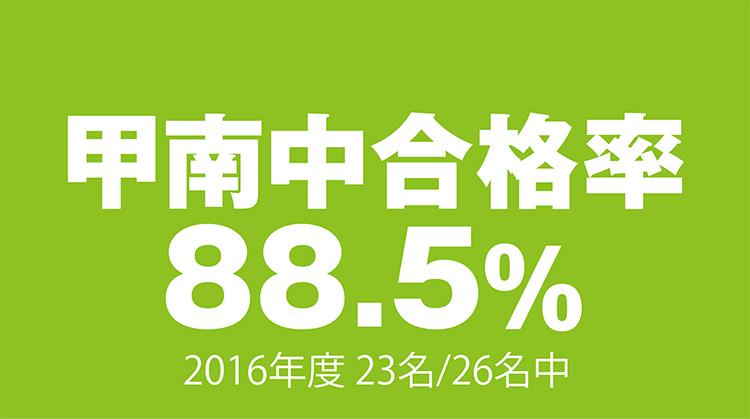 甲南中合格率88.5% 2016年度 23名/26名中
